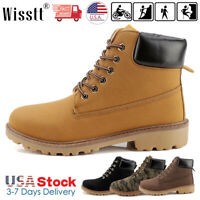 Men's Waterproof Leather Work Boots Martin Boots Casual Lace Up Ankle Shoes Size