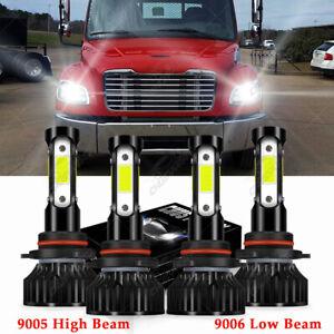 For Freightliner M2 100 106 112 LED 9005+9006 Headlights Hi/Lo Beam Bulbs Kit 4x