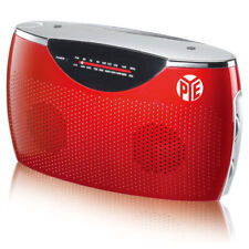 PYE Portable AM-FM Radio Aux in/AC/DC/Battery Powered Speaker w/ 3.5mm Red