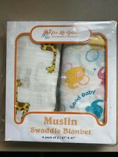 Eco Life Babies Muslin Swaddle Blanket 2-Pack, Giraffe & Elephant Design