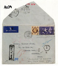 AO39 1946 GB CHINA AIRMAIL Birmingham Cover*Shanghai Unclaimed* RETOUR 6d Charge