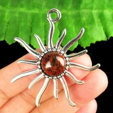 Obsidian Sun Pendant Bead R53094 Carved Tibetan silver Wrapped Mahogany