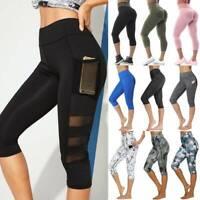 Women's Capri Yoga Pants Leggings With Pockets High Waist Fitness Gym Workout A1
