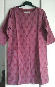 BNWT Brakeburn Pink Plum Textured Leaf Knee-length Shift Tunic Dress Size 12 14