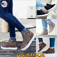 US Women's Stylish Round Toe Hidden Wedge Sneaker Trainers Ankle Boot Shoes Size