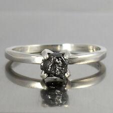0.57 CT NATURAL OPAQUE BLACK ROUGH RAW UNCUT DIAMOND .925 SILVER WEDDING RING222