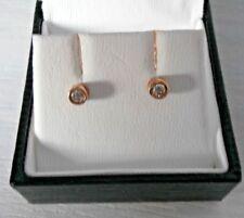 ERNEST JONES 9CT GOLD 0.15ct DIAMOND RUBOVER EARRINGS - BNIB