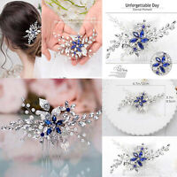 Wedding Hair Comb Silver Pearl Flower Bridal Clip Rhinestone Hair Accessories