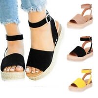 Women's Summer Ankle Strap Espadrille Wedge Platform Heel Open Toe Sandals Szie