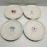Rae Dunn Magenta Fourth 4th of July 2018 Ceramic Set of 4 Small Dessert Plates