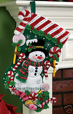 "Bucilla Candy Cane Snowman ~ 18"" Felt Christmas Stocking Kit #86299, Frosty 2011"