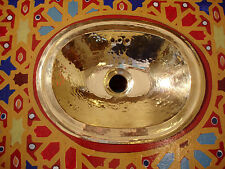 Brass very small Moroccan hand hammered plain oval sink wash basin