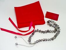 LOVELY LOLA ROSE TOURMALINATED GREY QUARTZ BEAD KNOTTED NECKLACE & POUCH