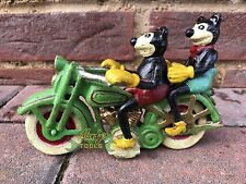 Disney Mickey & Minnie Mouse on Green Harley Davidson Like Motorcycle Motorbike