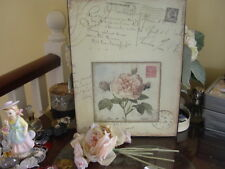 DECORATIVE  VINTAGE PINK ROSE COLLAGE TIN SIGN