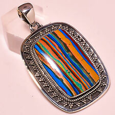 """RAINBOW CALSILICA VINTAGE STYLE  925 STERLING SILVER PENDANT 2"""""""