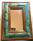 Vintage Handmade Vito  Israel Mirror Turquoise & Bronze Stand Collectors! GLOBAL