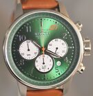 New Mens Invicta 23108 S1 Rally Chronograph Green Dial Brown Leather Strap Watch
