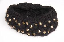 Black Knit Rose Gold Metal Studs Girly Stretch Playful Headband (S43)