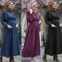 Islamic Women Maxi Dress Tunic Abaya Muslim Turkish Dubai Kaftan Arab Robe Gown