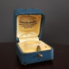 Antique Ring Box Push Button Clasp Blue Green's Jewelry Store SEATTLE WA vtg