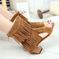 18 Lady Fringe Peep Toe Faux Suede Block Heel Zip Mid Calf Boots Plus Sz11.5 New
