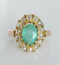 Antique Victorian 18ct Gold 1.50ct Emerald & Rose Cut 0.84ct Diamond Ring UK P/Q