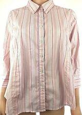 Liz Lange Women's Maternity Shirt Size Large Peach Striped Button-Front Top  W55