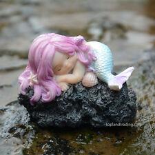 Miniature Fairy Garden SLEEPING LITTLE MERMAID ON ROCK (NEW)