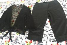 Womens juniors mixed clothing lot black capris sheer size medium longsleeve