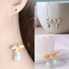 Orchid Flower Sage Green Pearl Earring Hook Dangle Ear Stud Jewelry Chic Mode
