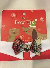 Bow Tie Pet Adjustable Dog Cat Plaid Bow Tie White Collar Valentine Wedding