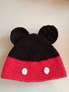 Baby Boys Mickey Mouse hat cap 3 months  hand crochet NEW
