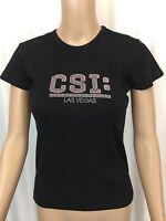 CSI Las Vegas Womens Top T Shirt Pink Black Short Sleeve Bling Casual Size M
