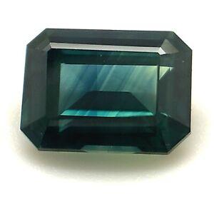 1.27ct Greenish Blue Sapphire, Step Cut, VVS, Heated, Natural Gemstone *Video*