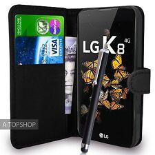 Black Wallet Case PU Leather Book Cover For LG K8 K350N Mobile Phone