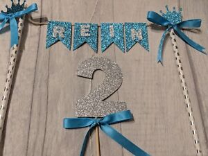 Personalised crown bunting  & number birthday cake topper blue age glitter 2nd