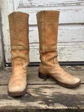 Vintage 70s 80s Blonde Leather Boots Women 8 8.5 9 Men 7 Boho Rockabilly Cowboy