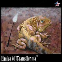 art realist painting animal portrait iguana reptile figurative decorative print