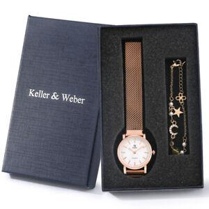 Ladies Quartz Watches Rose Gold Stainless Steel Bracelet Wristwatch Gift Watch