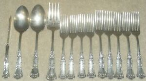 1908 Oneida WM A Rogers Ardsley-Empress Silverplate Flatware 13 Piece Lot