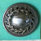 Bb LARGE JEWEL Antique BUTTON Gray Silk Glass in a Pierced Leafy Border