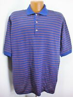 Jeff Rose Mens SS Blue Red Green Stripe Polo Shirt Tag XL Made in Italy