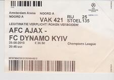 Sammler Used Ticket / Entrada Ajax Amsterdam v FC Dynamo Kiev 25-08-2010 UEFA CL