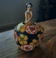 Rare find antique 1930's Deco Aladin porcelain powder pot made in France A/F