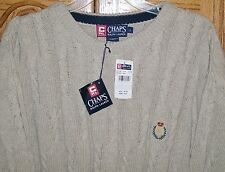 NWT CHAPS by Ralph Lauren Beige Cable Knit Sweater Crewneck sz Large Made in USA