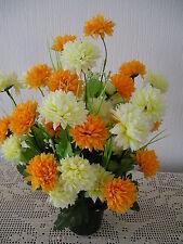 Quality Artificial /Silk Flower Arrangement In a Grave/Memorial/Crem Pot / Vase