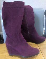 Ladies Debenhams Size 4 Purple Wedge Heel Knee High Boots Fancy Dress Autumn