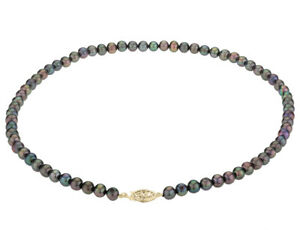 Black Peacock Pearl Necklace 6-7mm with 14K Yellow Gold Clasp