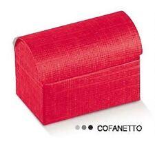 Cofanetto Seta rosso porta confetti bomboniera 70x45x52mm 10pz art 13629